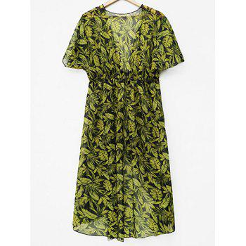 See Through Leaf Print Cover Up - YELLOW M