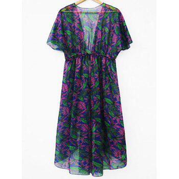 See Through Leaf Print Cover Up - multicolor XL