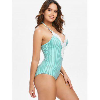Halter Striped One Piece Swimsuit - CLOVER GREEN M