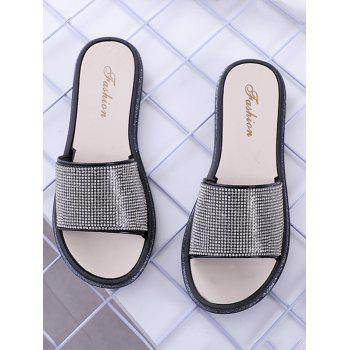 Faux Crystal Inlay Indoor Slippers - BLACK 39