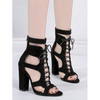 Party Chunky Heel Crisscross Cut Out Sandals - BLACK 41