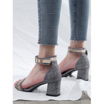 Faux Crystal Detail High Heel Sandals - GRAY 39