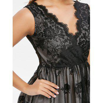 See Through Back Sleeveless Lace Dress - BLACK L