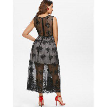 See Through Back Sleeveless Lace Dress - BLACK XL