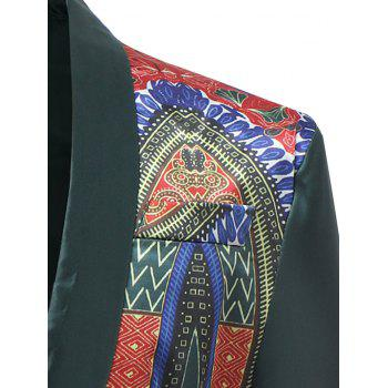 African Dashiki Flat Pockets Design Blazer - GREEN M