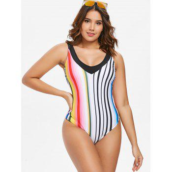 Striped U Back One Piece Swimsuit - multicolor M