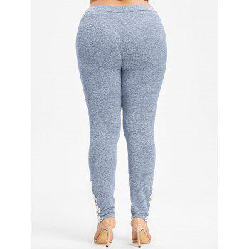 High Waisted Plus Size Leggings - BLUE GRAY 5X