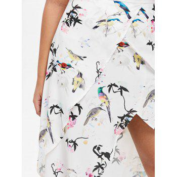 High Waisted Asymmetrical Printed Skirt - WHITE L