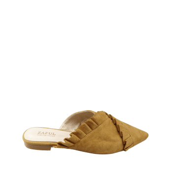 Asymmetric Ruffles Pointed Toe Mules Shoes - BEE YELLOW 37