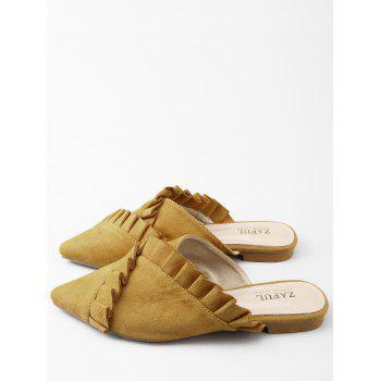 Asymmetric Ruffles Pointed Toe Mules Shoes - BEE YELLOW 38