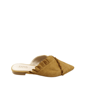 Asymmetric Ruffles Pointed Toe Mules Shoes - BEE YELLOW 40