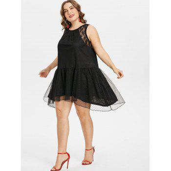 Plus Size Asymmetrical Lace Dress - BLACK L