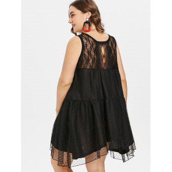 Plus Size Asymmetrical Lace Dress - BLACK 5X