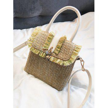 Tassel Color Block Flap Straw Leisure Handbag - WHITE
