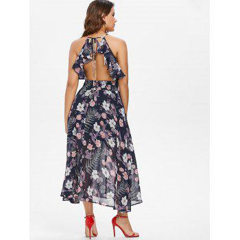 Floral Tie Up Ruffle Open Back Dress - BLUE M