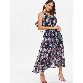Floral Tie Up Ruffle Open Back Dress - BLUE L