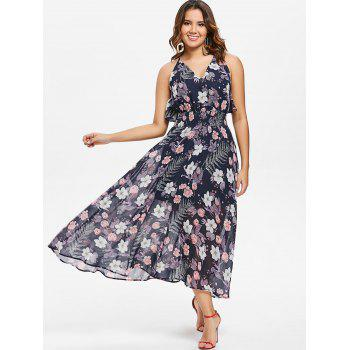 Floral Tie Up Ruffle Open Back Dress - BLUE XL
