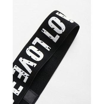 Love Graphic Elastic Sports Workout Headband - BLACK ONE SIZE