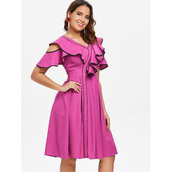 Contrast Trim Ruffle Open Shoulder Chiffon Dress - ROSE RED S