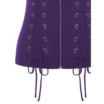Lace Up Rivet Corset Tank Top - PURPLE 2XL