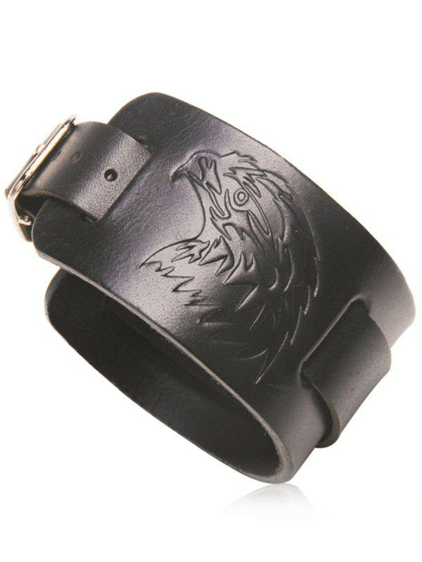 Eagle Pattern Faux Leather Bracelet - BLACK