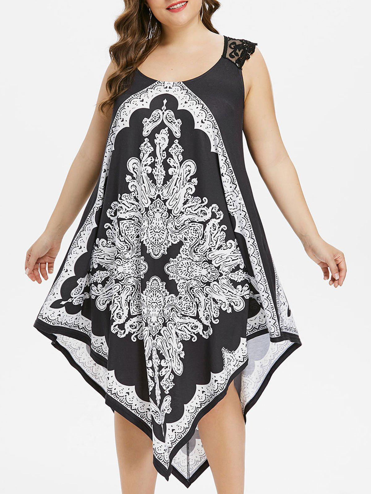 Plus Size Lace Trim Handkerchief Dress