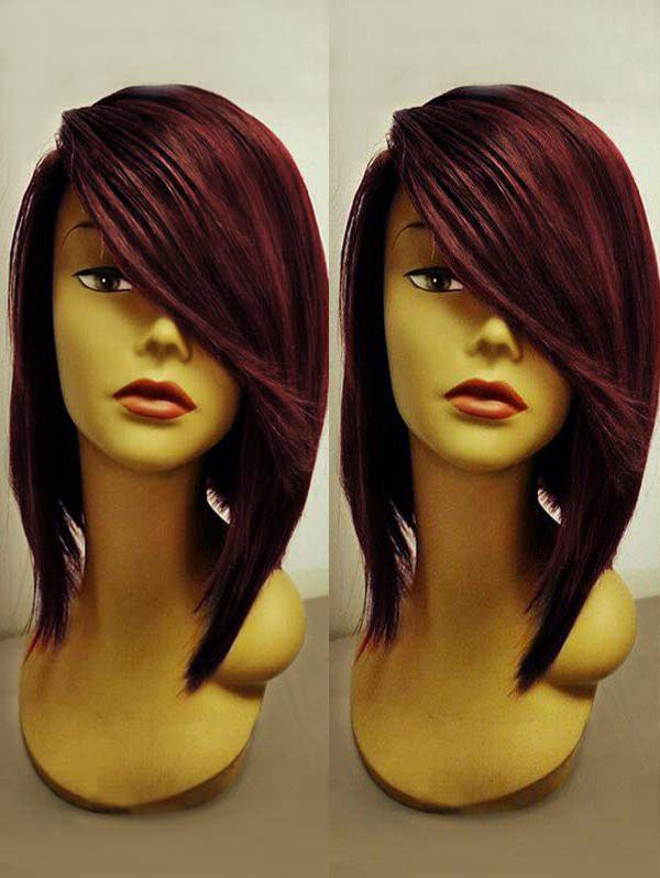 Short Side Bang Straight Party Colormix Synthetic Wig - multicolor