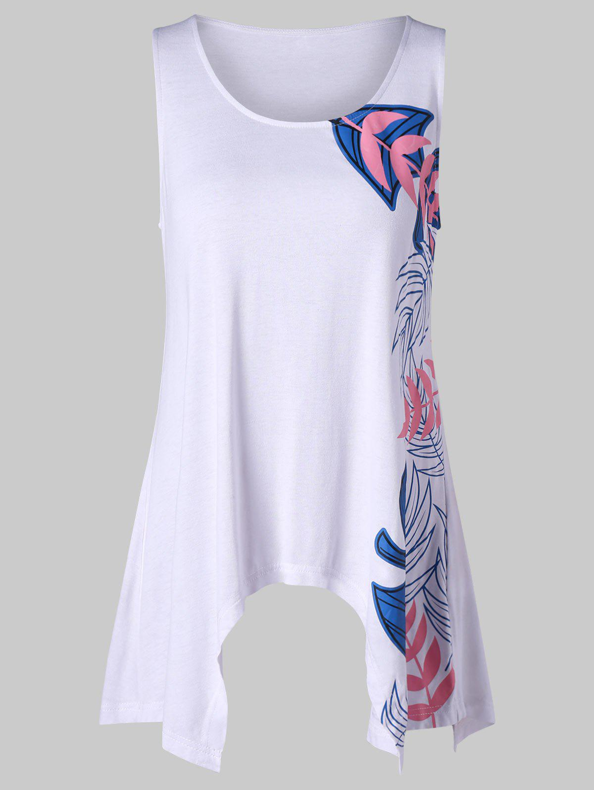 Leaf Print Crescent Hem Tank Top skull cat print crescent hem top