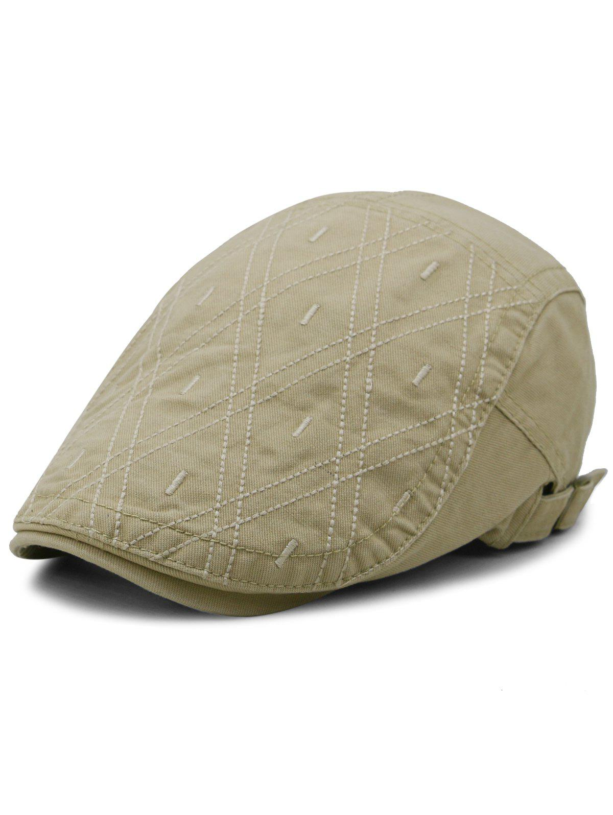 Outdoor Rhombus Embroidery Cabbie Hat patchwork pattern embroidery outdoor sunscreen cabbie hat for men