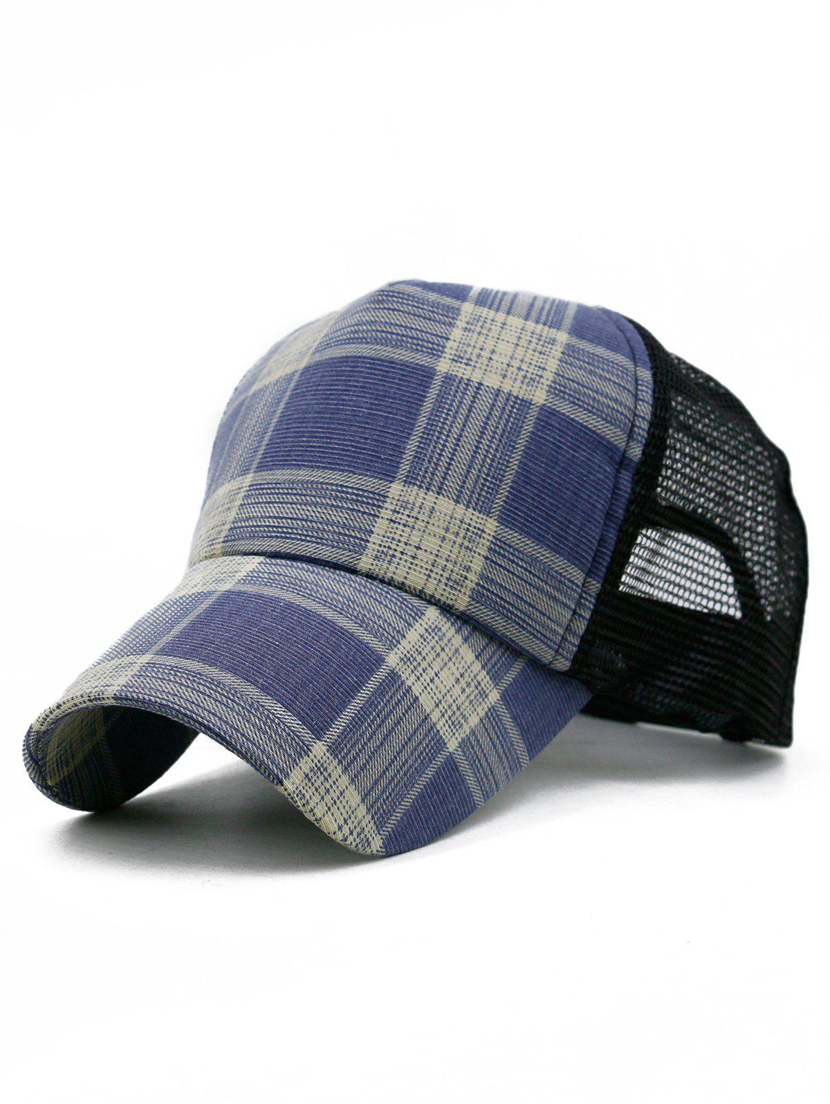 Outdoor Plaid Printed Mesh Sunscreen Hat - STEEL BLUE
