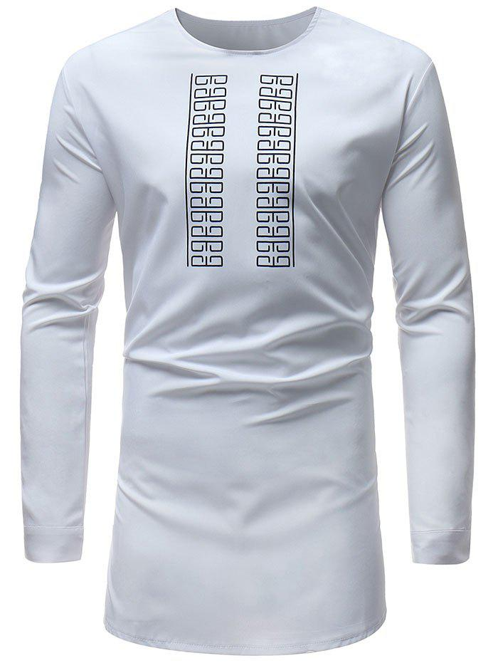 Hip Hop African Print Long Sleeve Tee - WHITE 2XL