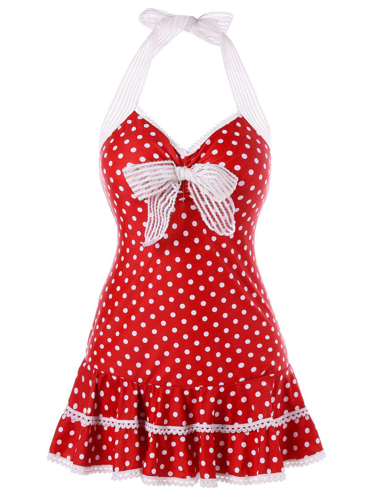 Polka Dot One Piece Swimdress - LAVA RED 2XL