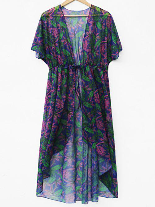 See Through Leaf Print Cover Up - multicolor L