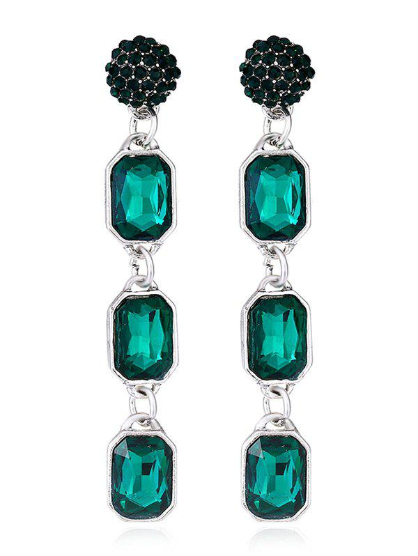 Geommetric Shaped Artificial Crystal Hanging Earrings - GREENISH BLUE