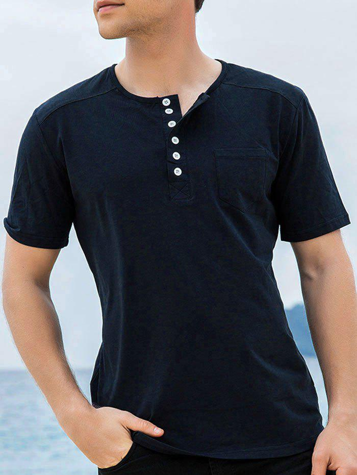 Casual Chest Pocket Henley T-Shirt
