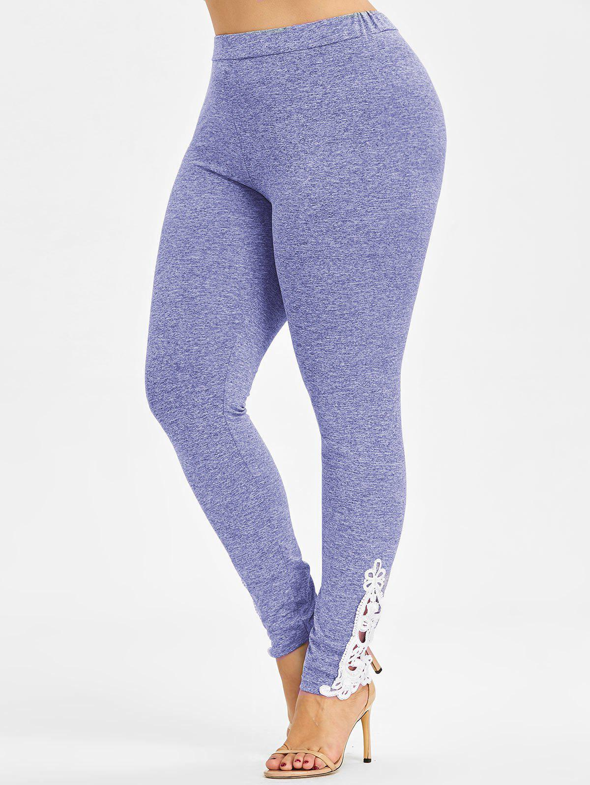 High Waisted Plus Size Leggings - CROCUS PURPLE 3X