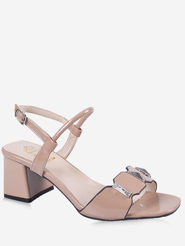 Chunky Heel Casual Party Ankle Wrap Sandals - APRICOT 35