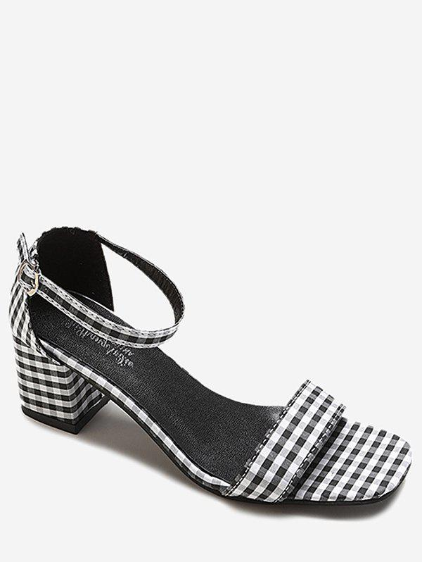 Classic Plaid Square Toe Punps - BLACK 35
