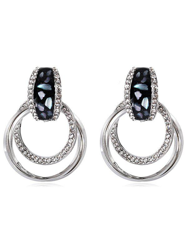 Rhinestone Round Alloy Stud Drop Earrings - SILVER