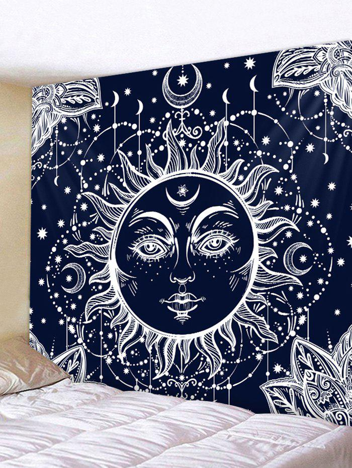 Sun Moon Print Tapestry Wall Art Hanging Decoration - CADETBLUE W91 INCH * L71 INCH