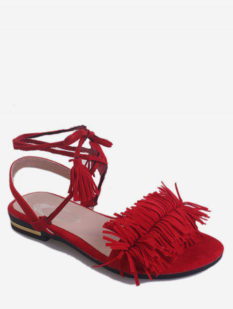 Ankle Wrapped Flat Heel Sandals - FIRE ENGINE RED 40