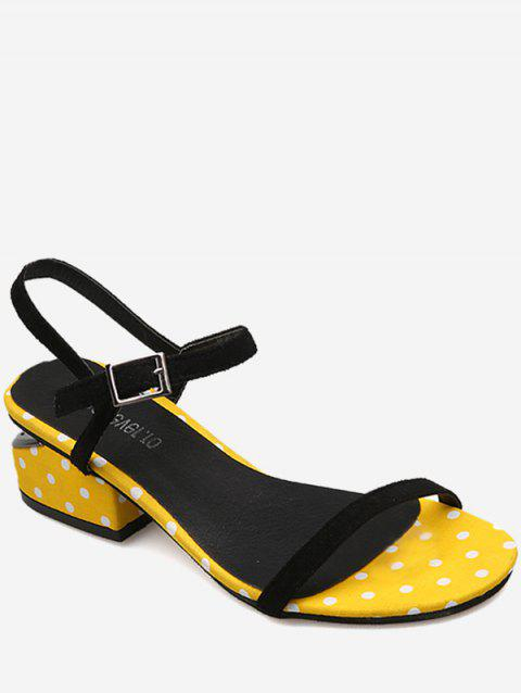 Hollow Out Heel Polka Dot Buckled Strap Sandals - YELLOW 38