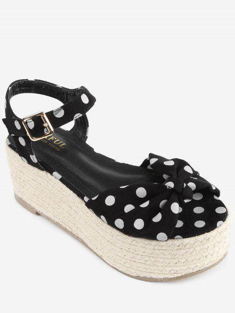 Polka Dot Espadrille Platform Sandals - BLACK 38