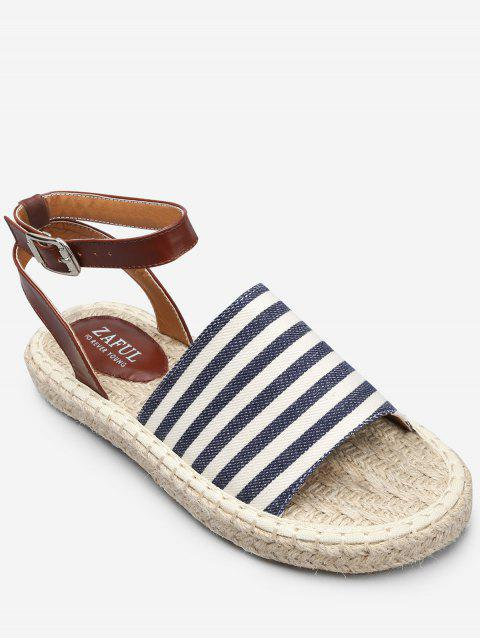 Espadrille Striped Color Block Ankle Strap Sandals - SKY BLUE 37