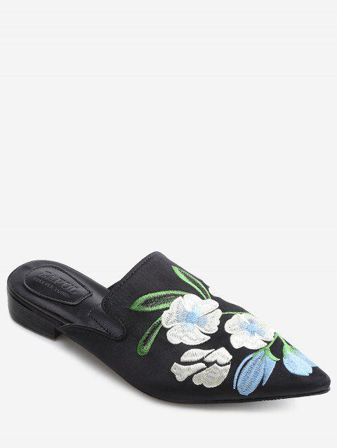 Pointed Toe Flower Embroidery Mules Shoes - BLACK 38