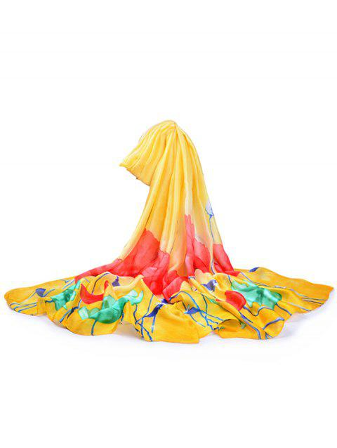 Lightweight Blooming Floral Pattern Long Scarf - YELLOW