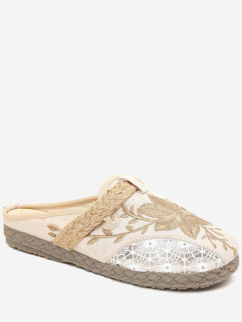 Casual Backless Espadrille Floral Slip On Slides - BEIGE 39