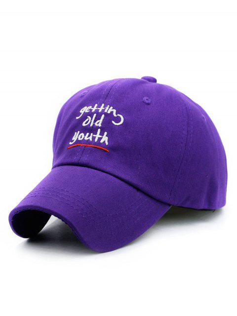 Outdoor Letter Embroidered Adjustable Sunscreen Hat - PURPLE