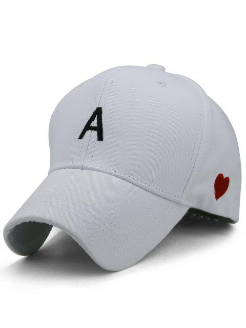 Sweetheart Embroidery Breathable Sunscreen Hat - WHITE