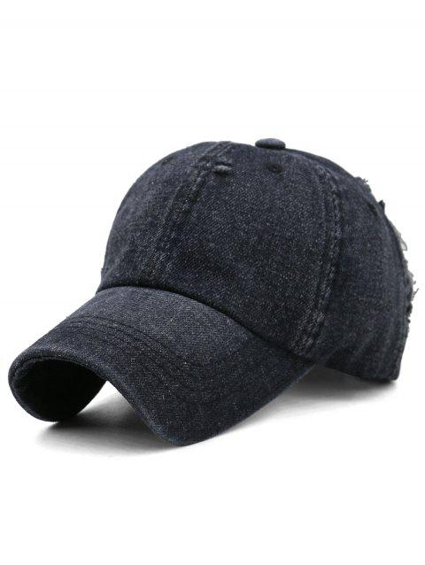 Solid Color Washed Distressed Graphic Hat - BLACK
